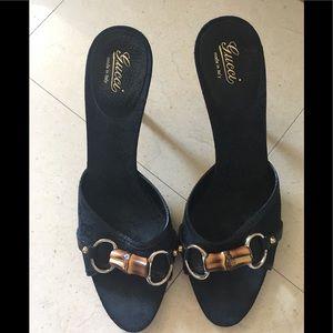 Gucci Monogram Bamboo Sandals Black